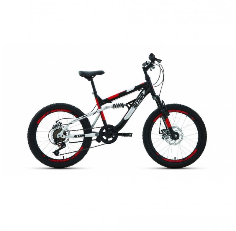 Велосипед FORWARD 20 ALTAIR MTB FS DISC ДвухПодвес 6ск, 2019-2020, (рама 14), черный/красный