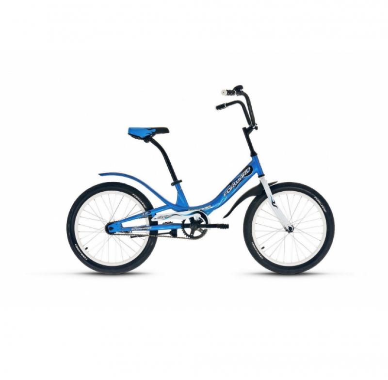 Велосипед FORWARD 20 SCORPIONS 1.0 1ск, 2019-2020, синий/белый