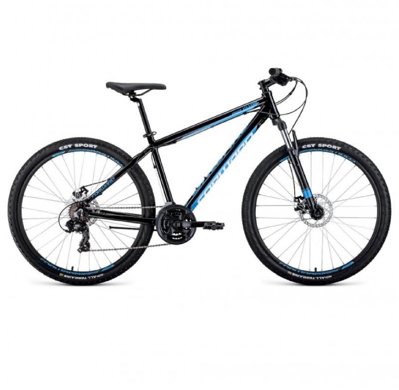 Велосипед FORWARD 27,5 APACHE 2.0 DISK, 21ск., 2019-2020, (рама 15) серый/голубой