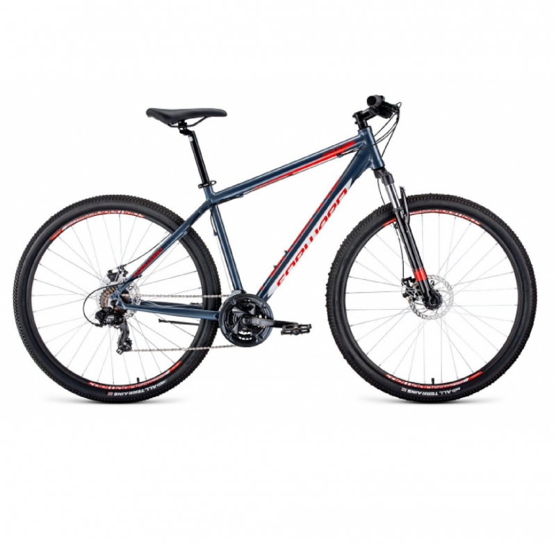 Велосипед FORWARD 29 APACHE 2.0 DISK, 21ск., 2019-2020, (рама 17), серый/красный