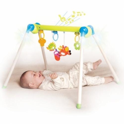 """Музыкальный игровой центр """"Первые занятия гимнастикой"""", зеленый, 5 развивающих игрушек, световые эффекты"""