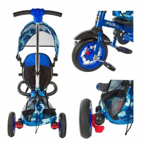 Велосипед 3кол. Junior-2, складн.рама, светомуз.панель, надув.колеса, син.