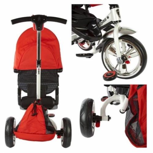 """Велосипед 3кол. Leader, светомуз.панель, 12/10"""" кол., разворот сиденья, красн."""