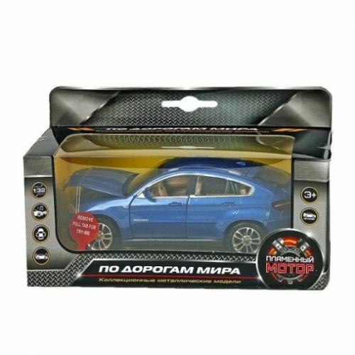 Машина мет. 1:32 BMW X6, свет, звук, откр.двери, капот, багажник, цвета в ассорт., 15 см
