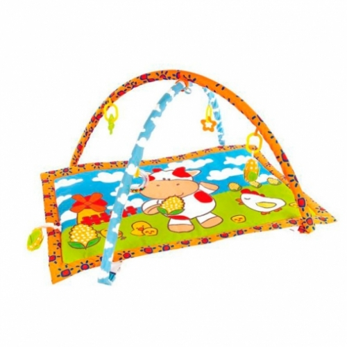"""Развивающий коврик """"Коровка Муу и кукурузка"""" с 5-ю развивающими игрушками и пищалкой"""