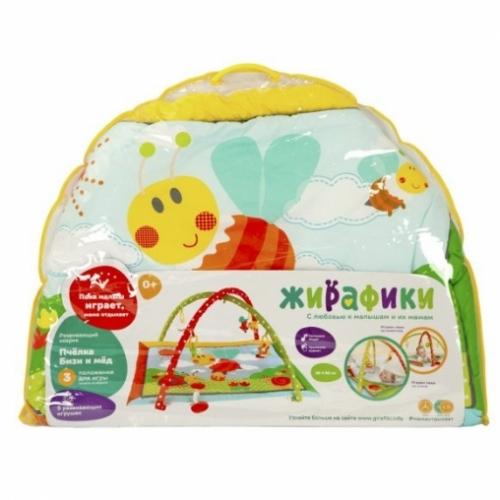 "Развивающий коврик ""Пчёлка Бизи и мёд"" с 5-ю развивающими игрушками, шуршалкой и пищалкой"