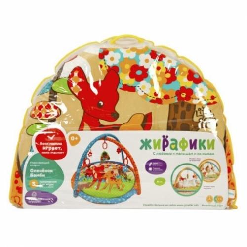 """Развивающий коврик """"Оленёнок Бэмби"""" с подушкой, 5-ю развивающими игрушками и пищалкой"""