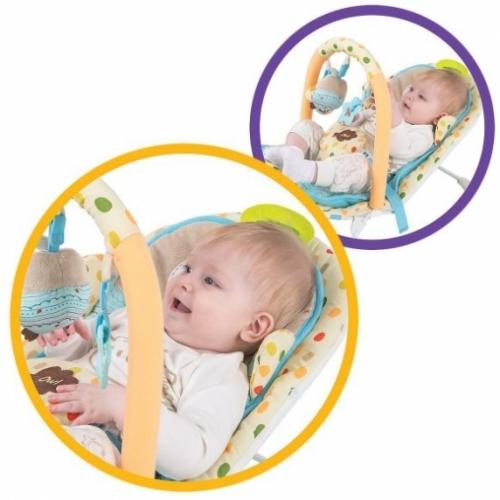 """Кресло-качалка """"Совёнок"""" с анатомической вкладкой, вибрация, музыка, 3 развивающие игрушки."""