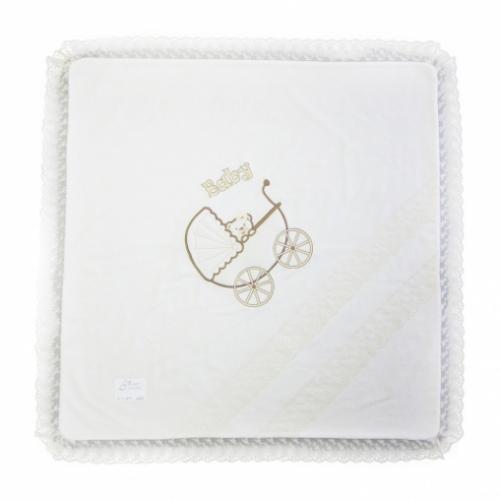 Одеяло-плед КОЛЯСКА С МИШКОЙ