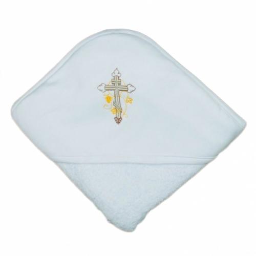 Полотенце - уголок для крещения с вышивкой 105*105, махра+интерлок