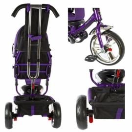 """Велосипед 3кол. Comfort, светомуз.панель, 12/10"""" кол., фиолет."""
