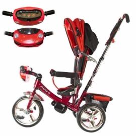 "Велосипед 3кол. Comfort, светомуз.панель, 12/10"" кол., красн."