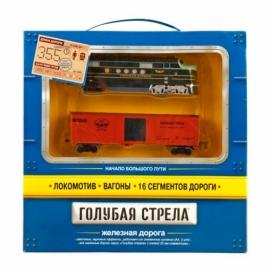 Ж/д Голубая стрела,355 см,тепловоз,1 вагон,свет,звук. Элементы питания не входят в комплект, артикул 2001C