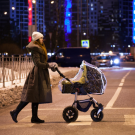 Дождевик на коляску универсальный Roxy Kids с окошком и светоотражателем по периметру, ПВХ